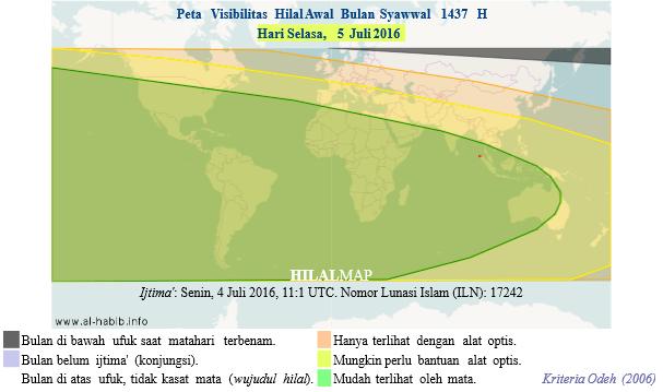 Peta Visibilitas Hilal Syawal 1437 H pada petang hari Selasa, 5 Juli 2016. Hampir di seluruh dunia akan bisa melihat bulan sabit 1 Syawal 1437 H.