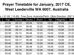 Yearly Prayer Timetable Generator Available at Alhabib