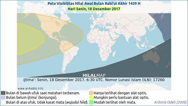 Peta visibilitas hilal Rabiul Akhir 1439 H pada hari Senin, 18 Desember 2017. Hilal kemungkinan kecil bisa dirukyat.
