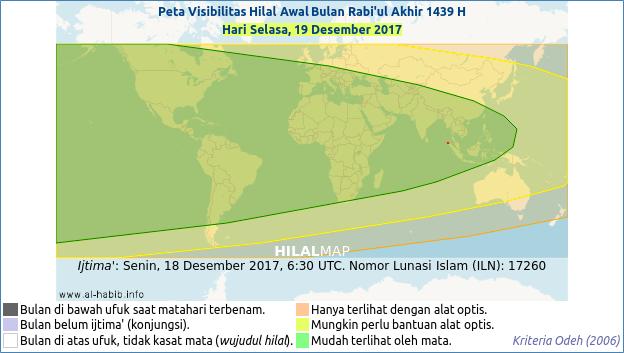 Peta visibilitas hilal 1 Rabiul Akhir 1439 H pada hari Selasa, 19 Desember 2017. Hilal kemungkinan dengan mudah bisa dilihat di hampir seluruh dunia.