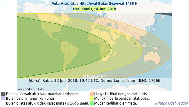 Peta kemungkinan terlihatnya hilal 1 Syawal 1439 H pada petang hari Kamis, 14 Mei 2018 M. Wilayah yang diarsir hijau atau kuning kemungkinan akan bisa melihat bulan sabit 1 Syawal 1439 H.