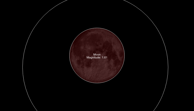 "Simulation of the total lunar eclipse, showing the reddish color of the ""Blood Moon"" that occurs during totality."
