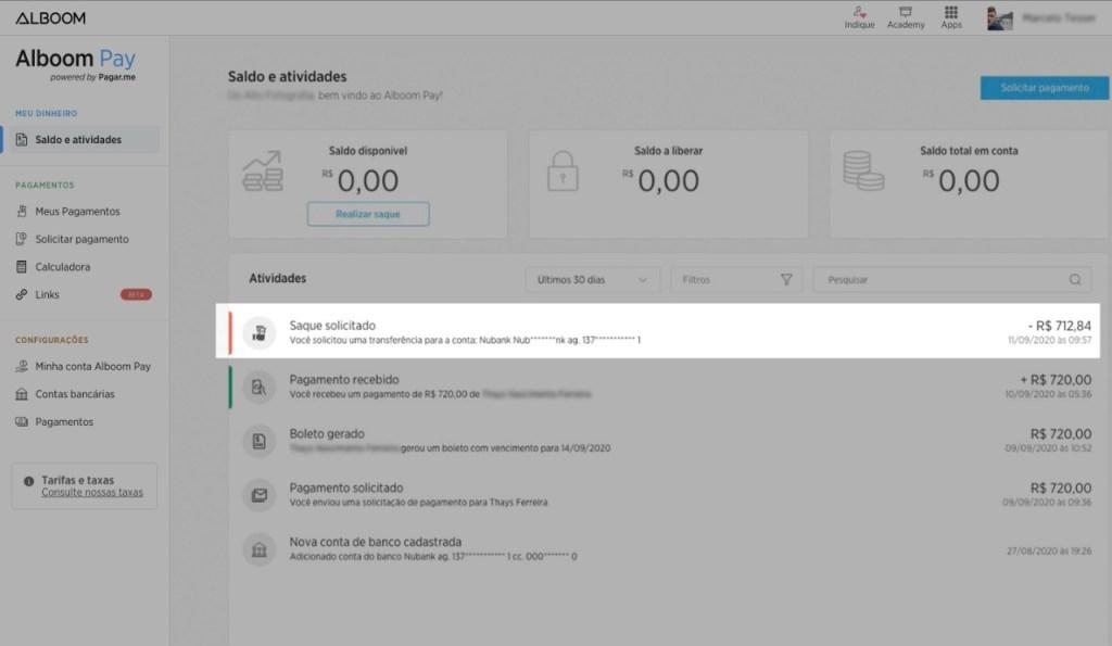 Alboom-pay-solicitar-saque-pagamento-online
