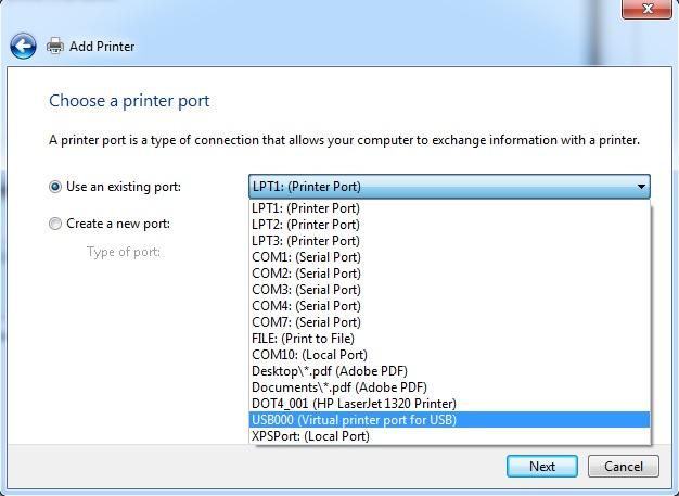 Chose a printer port