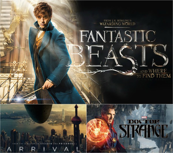 Collage of Fantastic Beasts, Doctor Strange, and Arrival movie posters