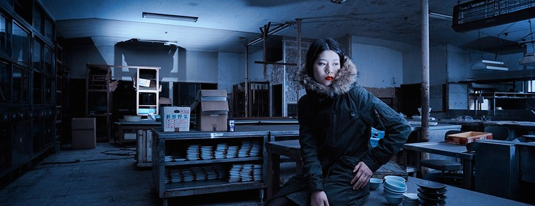 Azusa: modelling in abandoned buidling - haikyo - in Japan