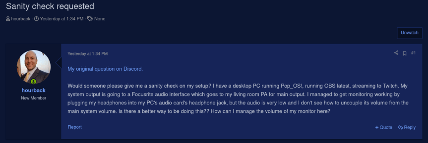 My post on the OBS forum for help with my set-up.  :-)