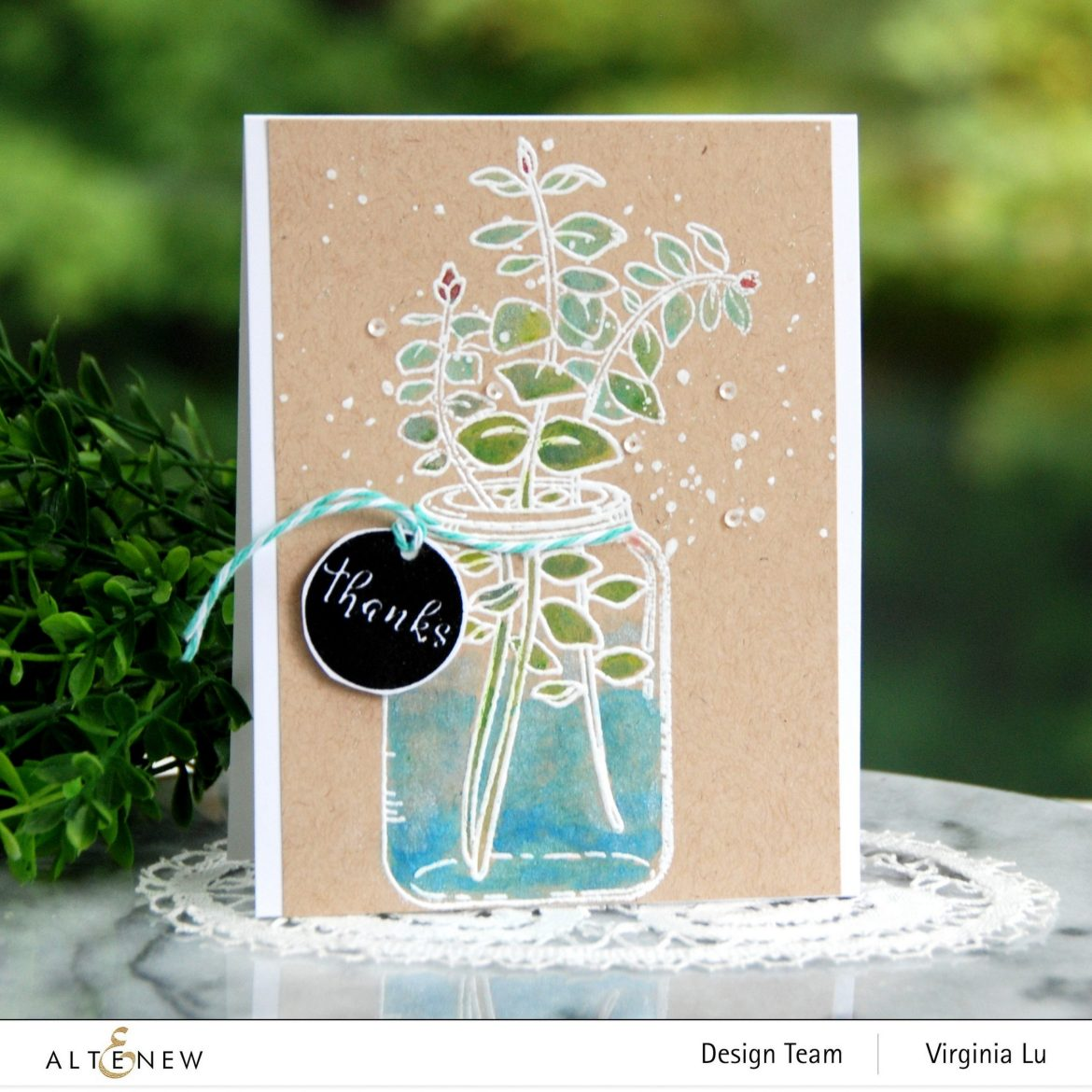 Altenew-Eucalyptus Jar Stamp Set-Woodless Watercolor Pencils-Metallic Watercolor