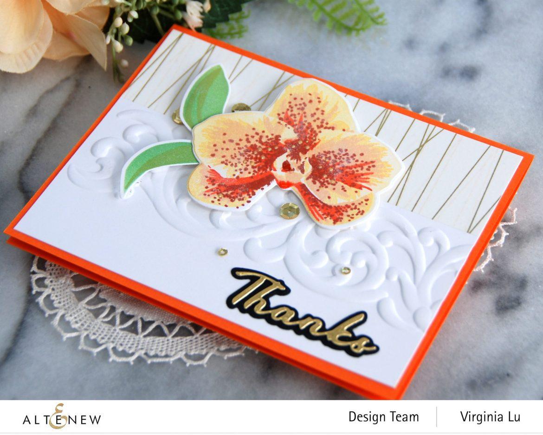 01052021-Spotted Orchid Stamp Die Mask Stencil Bundle-Simple Greetings Die Set-Swirl Motif 3D Embossing Folder -001