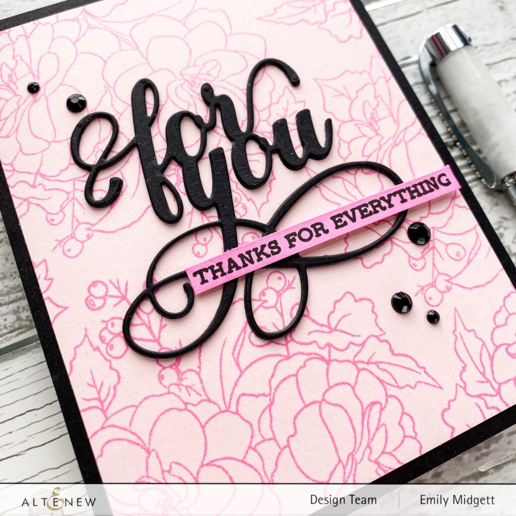 Black Accents on Pink Handmade Floral Card