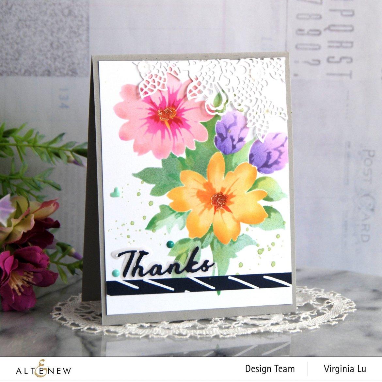 Altenew-Flower Bunch Simple Layering Stencil-Simple Greetings Die-Sweet Moments Paper Pack-Seashore Enamal Dots -001