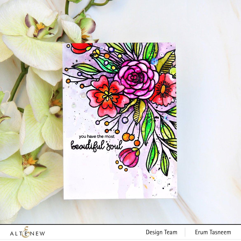 Altenew Bouquet of Love Stamp Set | Erum Tasneem | @pr0digy0