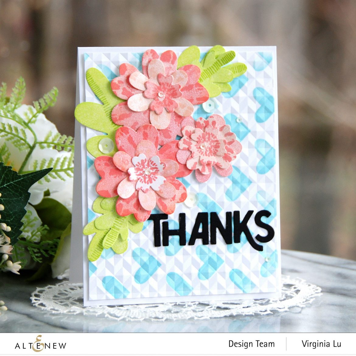 Altenew-May2021Inspiration Challenge-Simple Nesting Flower Layering Die-Color Block Hearts Stencil-angled Mosaic 3D Embossing Folder-Bold Thanks Die Set-Tie Dye Motif Stamp Set