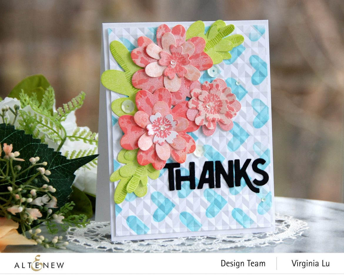 Altenew-May2021Inspiration Challenge-Simple Nesting Flower Layering Die-Color Block Hearts Stencil-angled Mosaic 3D Embossing Folder-Bold Thanks Die Set-Tie Dye Motif Stamp Set-001