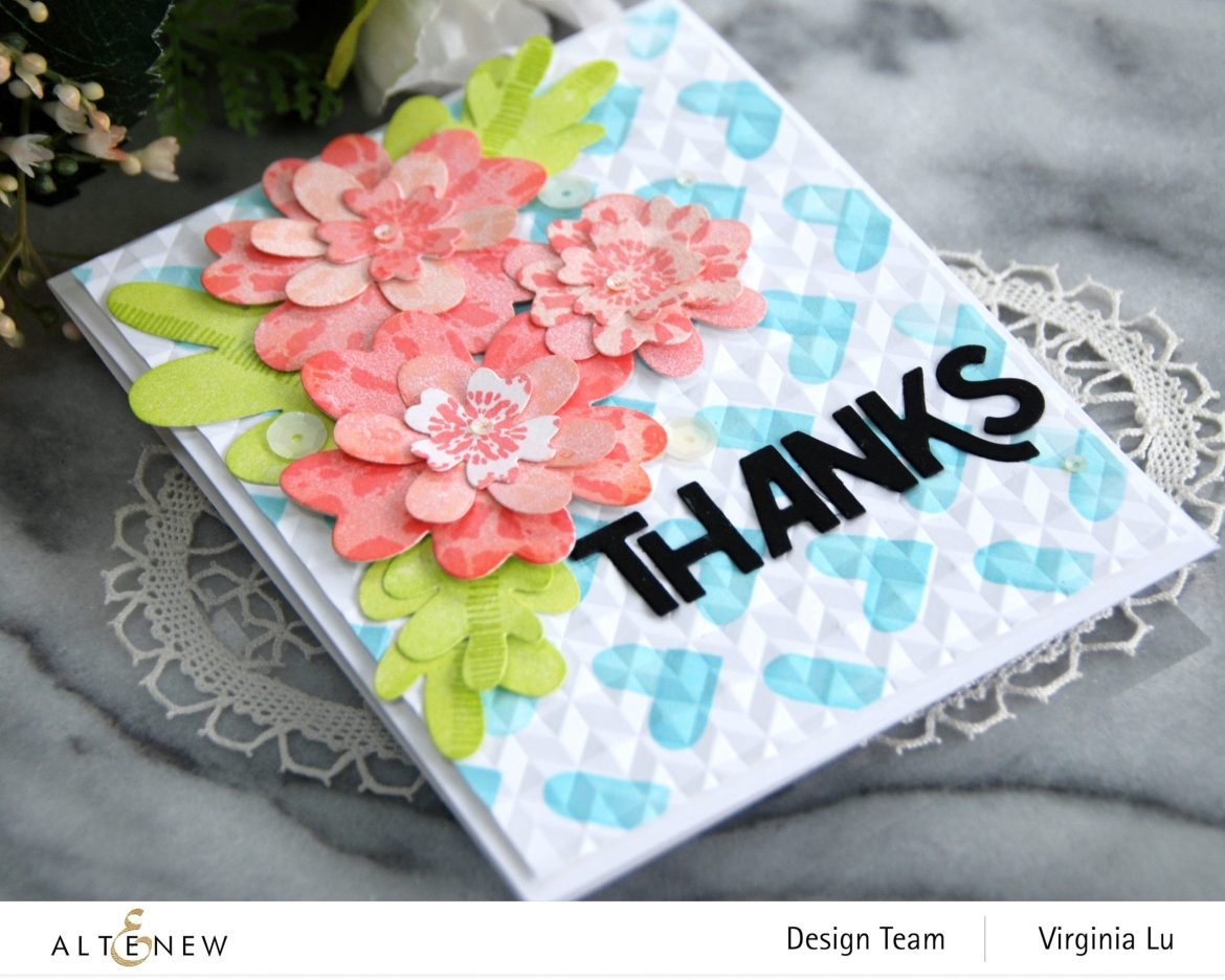 Altenew-May2021Inspiration Challenge-Simple Nesting Flower Layering Die-Color Block Hearts Stencil-angled Mosaic 3D Embossing Folder-Bold Thanks Die Set-Tie Dye Motif Stamp Set-003