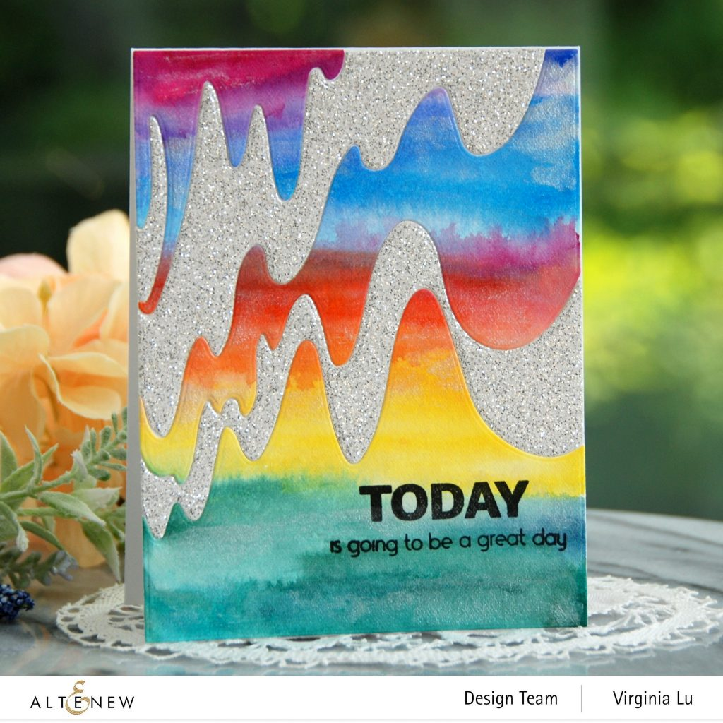 Altenew-Wave Form Cover Die-Woven Strips Stamp Set-24 Watercolor Pan Set-Dazzling Diamond Glitter Cardstock-002