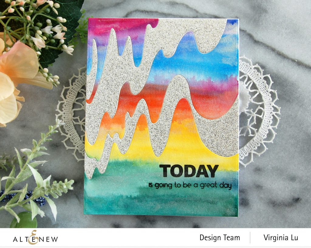 Altenew-Wave Form Cover Die-Woven Strips Stamp Set-24 Watercolor Pan Set-Dazzling Diamond Glitter Cardstock-004