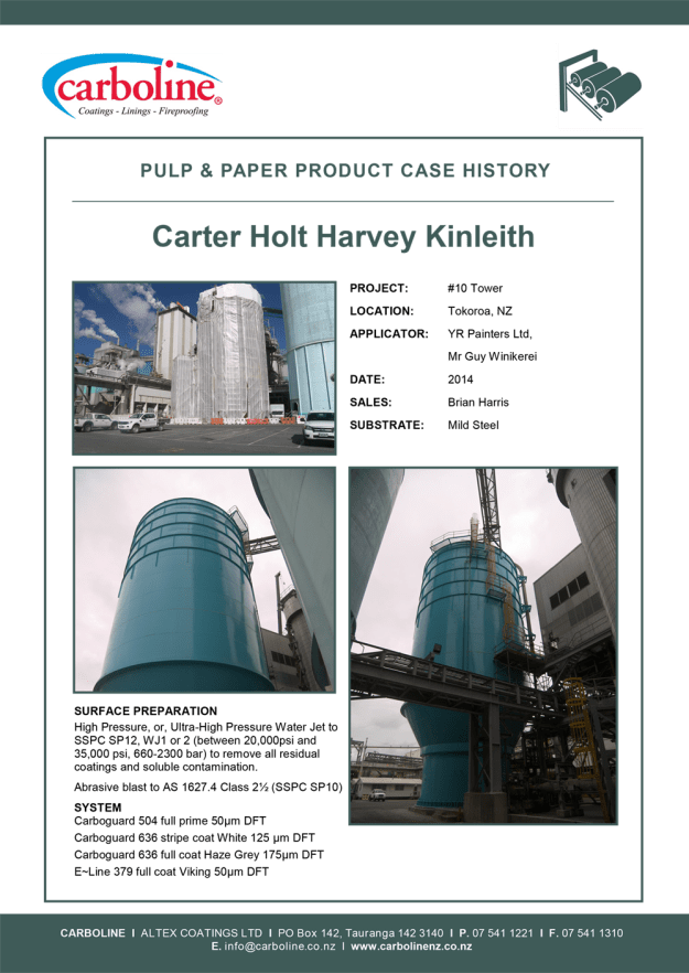 Carboline Pulp & Paper Case History For CHH Kinleith