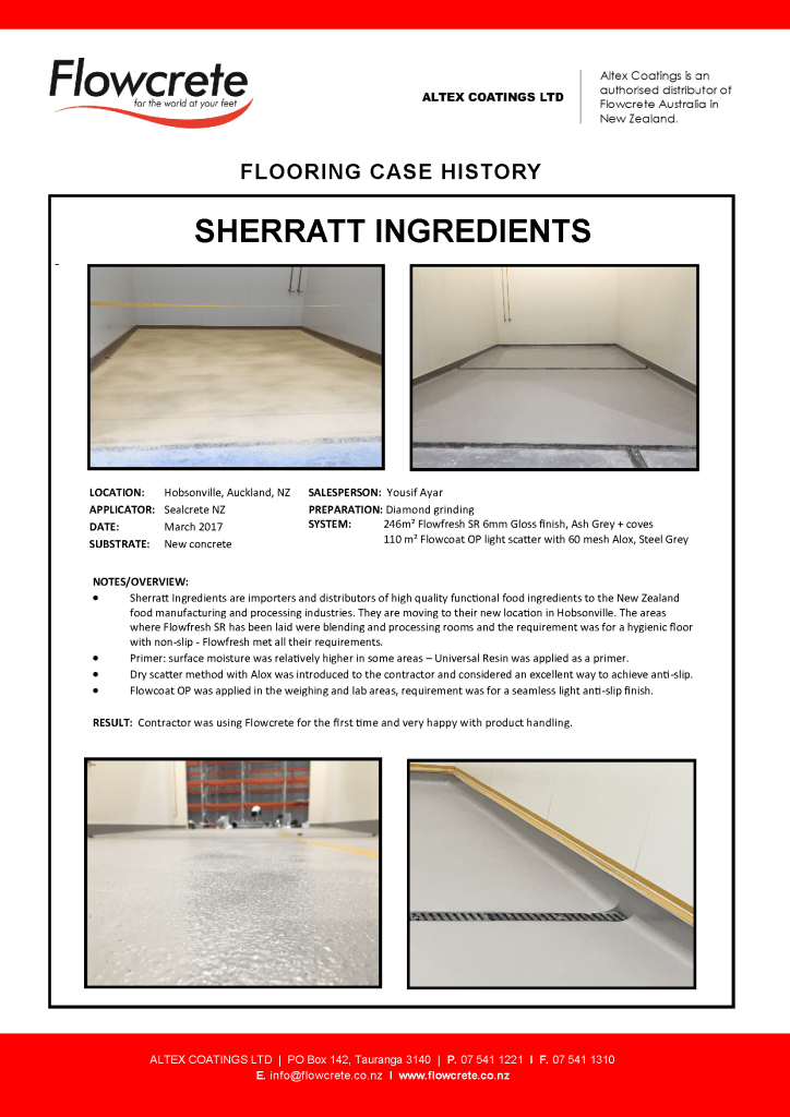 Sherratt Ingredients - Flowcrete