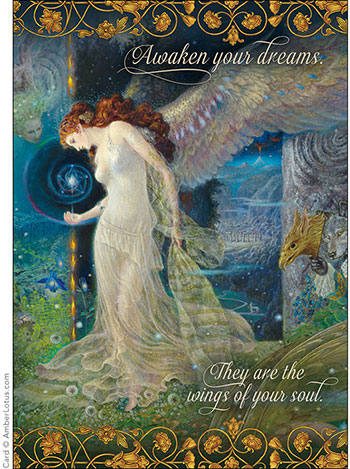 Awaken Your Dreams greeting card featuring artwork by Kinuko Y. Craft. See the series and sampler packs on our website.