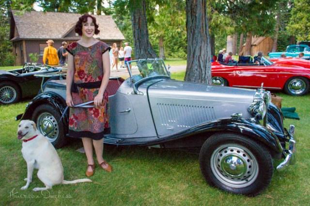 1920s gatsby dress MG TD roadster Lake Tahoe Sugarpine event