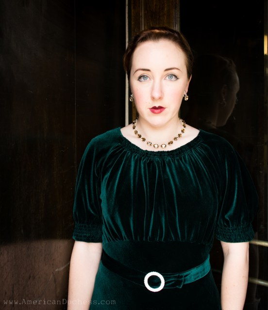 1930s velvet gown paired with citrine and silver colette necklace and earrings by Dames a la Mode on Etsy