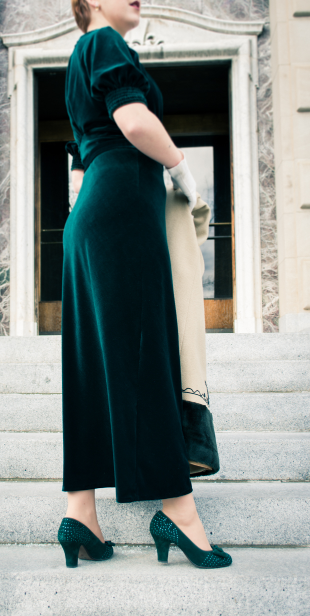 """1930s velvet gown paired with Miss L Fire """"Gabrielle"""" pumps from www.RoyalVintageShoes.com"""