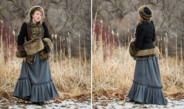 """Armstreet.com """"Russian Seasons"""" coat, hat, and muff, styled with a 1880s skirt to create an Anna Karenina inspired outfit"""