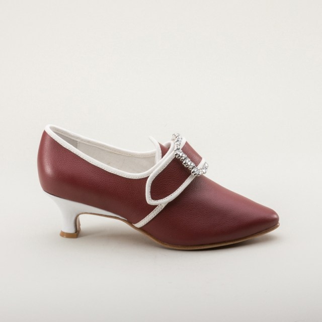 """American Duchess """"Dunmore"""" 18th Century Shoes in red leather trimmed in white"""