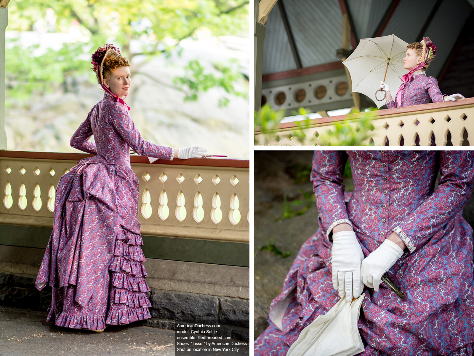 Redthreaded bustle gown in New York City, photographed by American Duchess