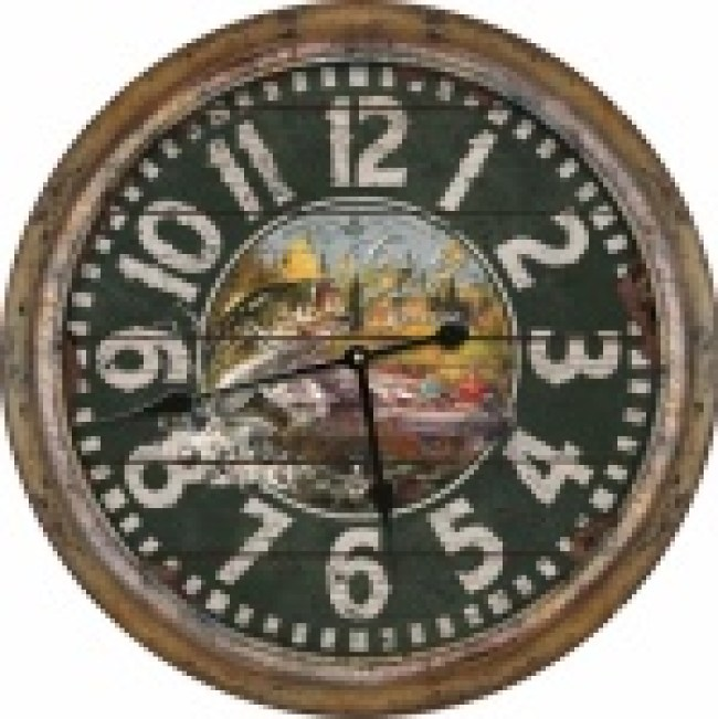 "XL 26"" Tin Fishing Clock"