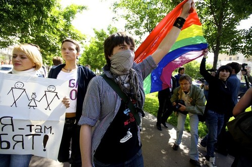 Russian LGBTI activists. The LGBT community faces increasingly repressive legislation in Russia (Photo Credit: Charles Meacham/Demotix).