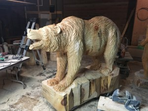 Bear carved from wood.