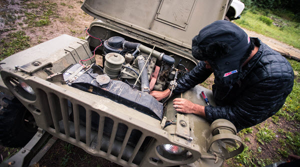 willys jeep working under the hood