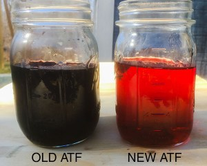 Worn transmission fluid