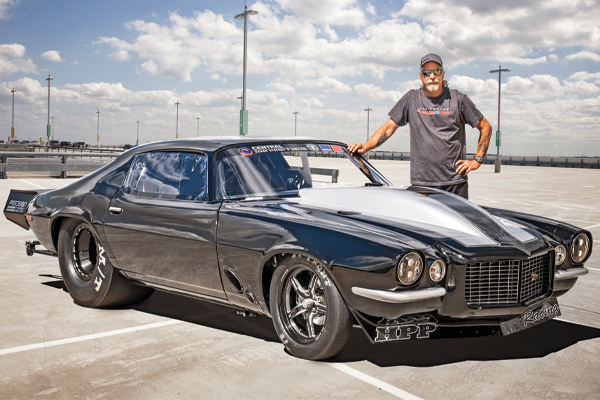 Jerry Monza Johnston of Street Outlaws with his Sinister Split-Bumper Camaro used for drag racing.