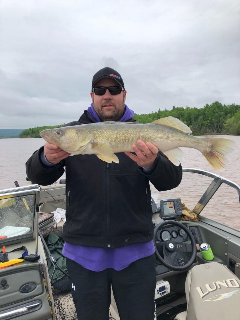 Josh Pettit with walleye.