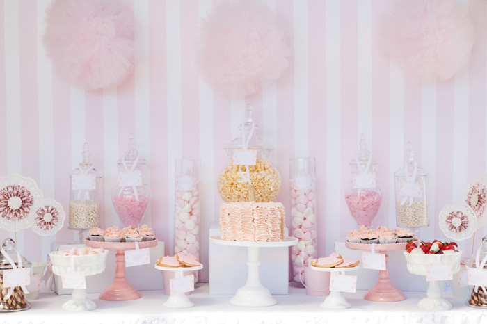 We Received This Beautiful Dessert Table From Daisy At Leo Bella This Pink And Gold Dessert Table Was Put Together For A Little Girls 1st Birthday Party