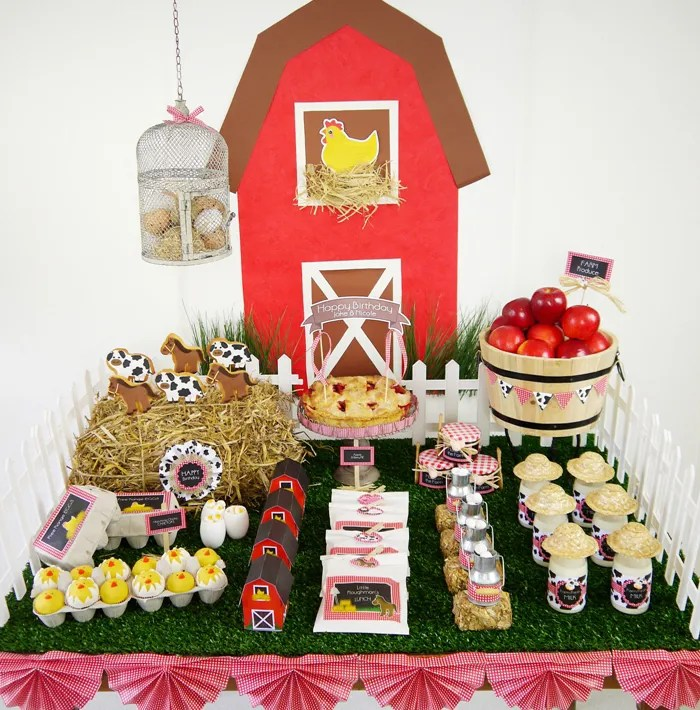 Barnyard Birthday -Dessert table for kids