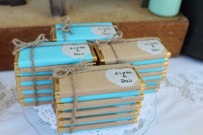 Rustic Vingtage Engagement Party Desset Table - Personalized Chocolate Bars