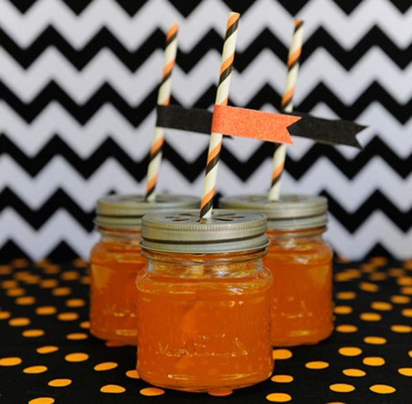 Chevron Black and Orange Halloween Dessert Table drinks