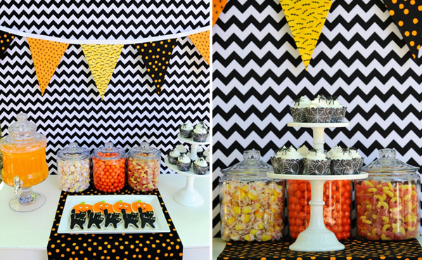 Chevron Black and Orange Halloween Dessert Table Cat Cookies
