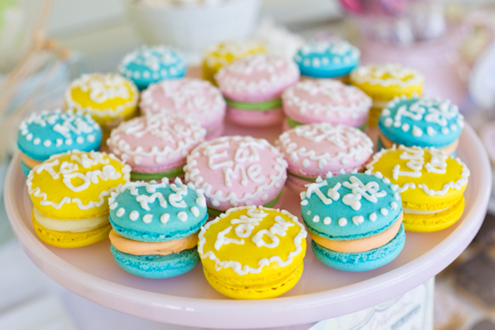 Alice in Wonderland Inspired Dessert Table Yellow, Turquoise, Pink Macarons