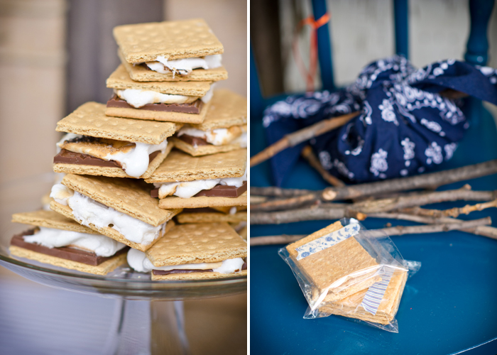 Burlap and bluegrass dessert table s'mores