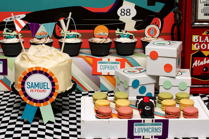 Vintage Race Car Birthday Party Dessert Table Centre