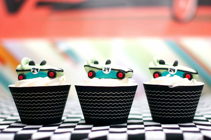 Vintage Race Car Birthday Party Dessert Table Cupcakes 2