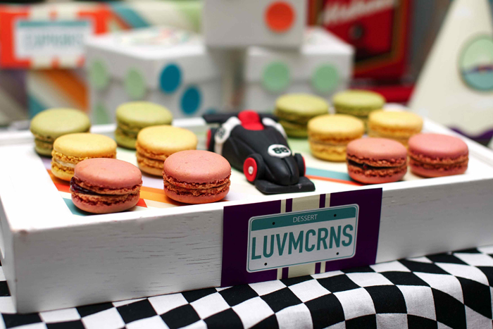 Vintage Race Car Birthday Party Dessert Table Traffic Light Macarons