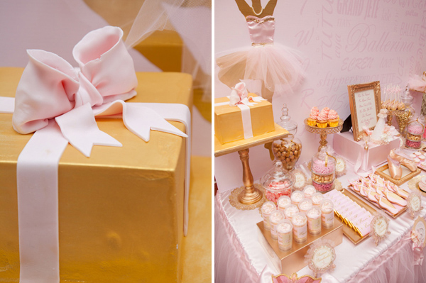 Pink Ballerina Party for girls Gold Cake