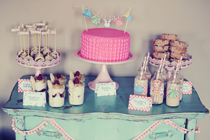 Paper Doll inspired Dessert Table for Kids
