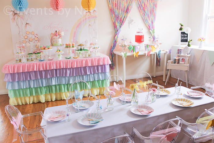 Pastel Fairy Rainbow Party dessert table for Girls
